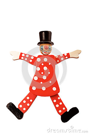 Free Wooden Clown Toy On String Isolated On White Stock Photos - 61788813