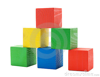 Wooden colored building pyramid of cubes
