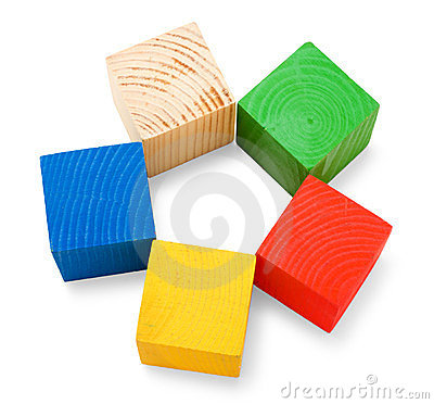 Free Wooden Colored Cubes Stacked In Shape Of Flower Stock Image - 23810891