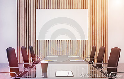 Wooden conference room, poster, toned Stock Photo