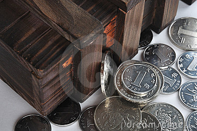 Wooden container and coins