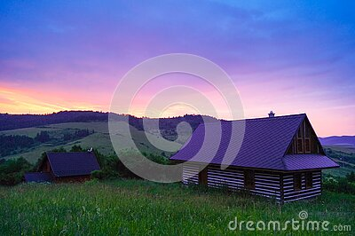 Wooden Cottage In Field At Sunset Free Public Domain Cc0 Image