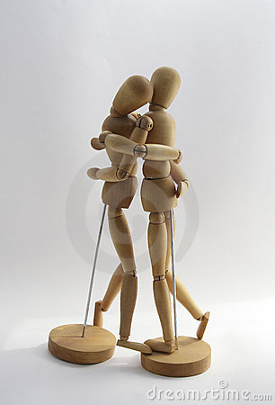 Wooden couple 2. Tenderness