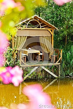 Wooden cozy gazebo for relaxing