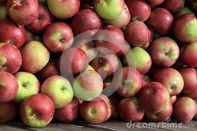 Wooden crate filled with apples