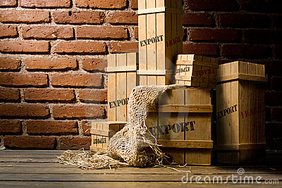 Wooden crates packed for export