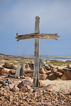 Wooden Cross on coast