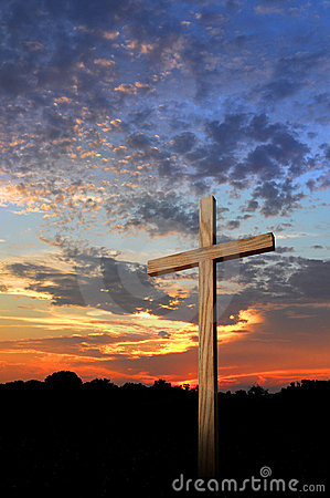 Wooden Cross And Sunset Stock Photo Image 5983810