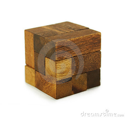 Wooden cube puzzle isolated