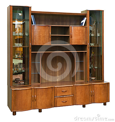 Wooden cupboard with glass doors