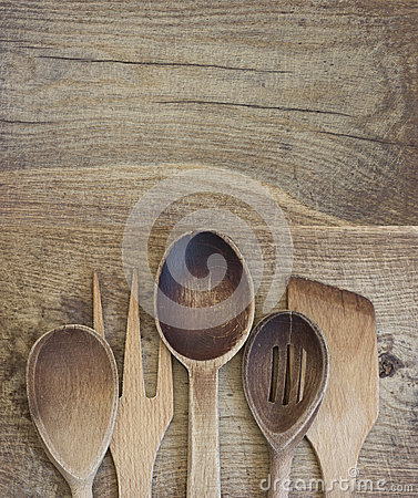 Free Wooden Cutlery Stock Photography - 28880442