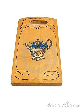 Free Wooden Cutting Board Painted With Teapot Isolated Royalty Free Stock Photography - 9961627