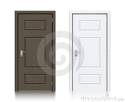 Wooden dark gray and white painted doors.