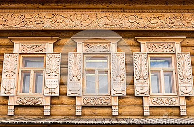 Wooden decorated windows