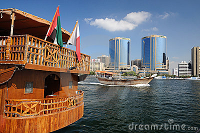 Wooden Dhow at Dubai Creek Editorial Stock Photo