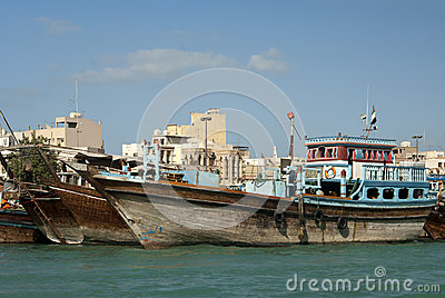 Wooden Dhow merchant ships