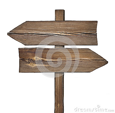 Free Wooden Direction Sign With Two Arrows In Opposite Directions Stock Photography - 82581672