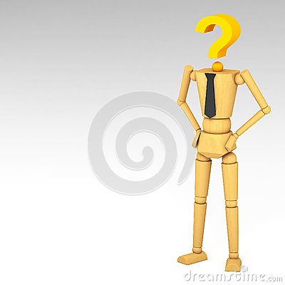 The wooden doll with Question mark