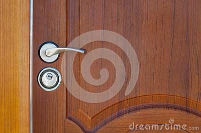Wooden door handle and lock
