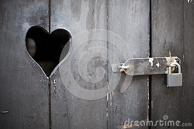 Wooden door with heart