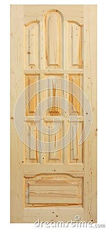 Wooden door made of coniferous tree