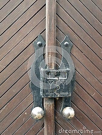 Wooden door with old lock