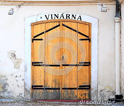 Wooden door of an old Prague wine-house