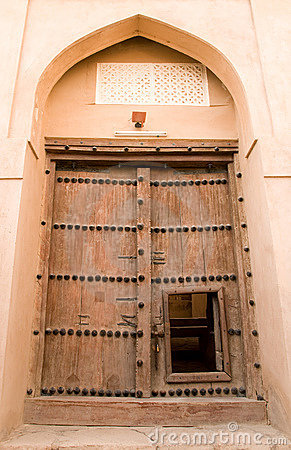 Wooden door of Rustaq fort