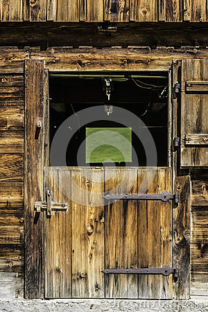 Wooden door of stable