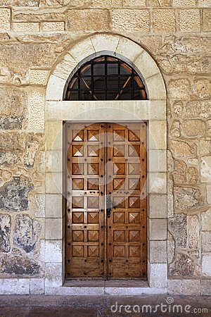 Free Wooden Door With Curved Arch . Stock Photography - 109851242
