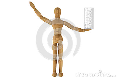 Wooden dummy with computer keyboard