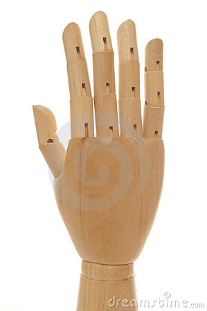 Wooden dummy hand with five fingers up
