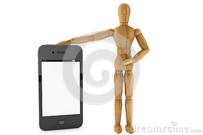 Wooden dummy with mobile smartphone