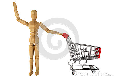 Wooden dummy with Shopping Cart