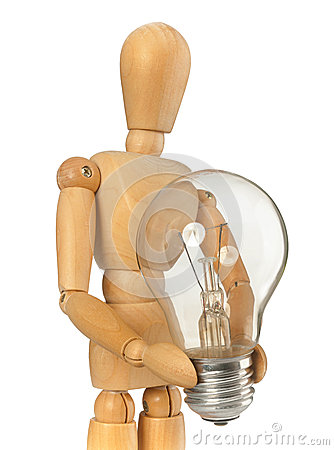 Free Wooden Dummy That Maintains A Light Bulb In Hand Royalty Free Stock Photo - 49547625