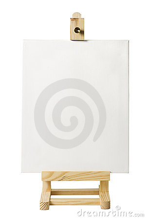 Wooden easel with blank artist s canvas