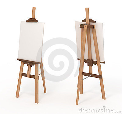 Wooden easel with blank canvas,