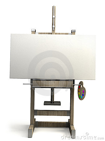 Wooden easel with blank canvas isolated