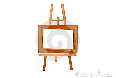 Wooden easel with empty foto frame