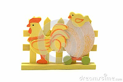 Wooden easter chicken and egg