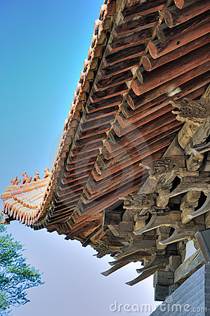 Wooden eave of Chinese historic architecture