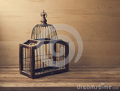 Wooden empty bird cage
