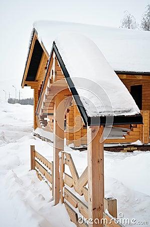 Wooden entrance, log home