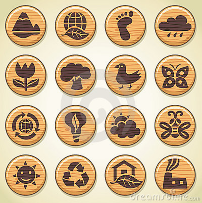 Wooden environment icons set 2