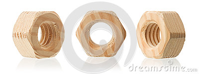 Wooden female screw nut with reflection