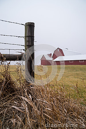 Free Wooden Fence And Barn. Stock Photo - 49808420