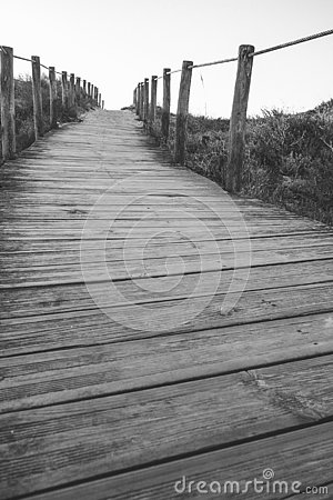 Free Wooden Fence And Walkway To Beach Black And White. Empty Path Monochrome. Walking Concept. Stock Images - 144831874