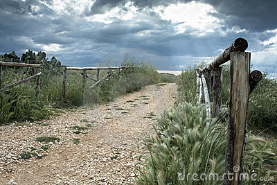 Wooden Fence on Country Road