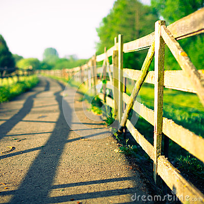 Free Wooden Fence On Farm At Sunrise Royalty Free Stock Photography - 39249987
