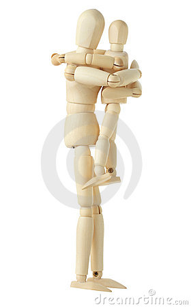 Wooden figure of parent holding child
